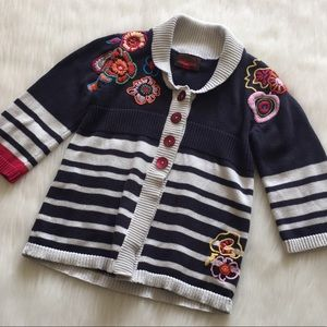 Catimini Girls Striped Floral Cardigan Sweater
